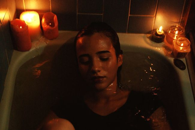 Bathtub Water Portrait Painting Beauty Pentax Indoors  Person Natural Candle Light Candles Colorful Welcomeweekly