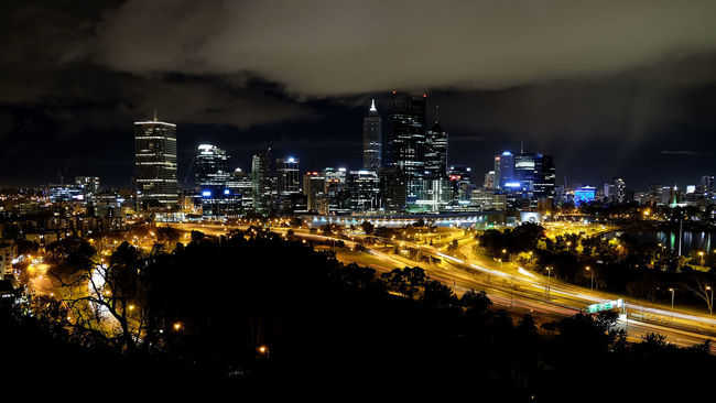City Family Friends Night Lights the beautiful lookout onto Perth city Kings Park