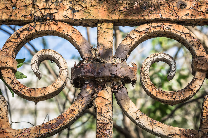 Architecture Art Braun Circles Close-up Day Fence Iron - Metal No People Old Outdoors Rusty Sky