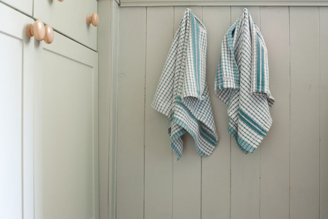 Two fresh checked dishtowels hanging on wooden cabinetry in a kitchen Cabinetry Chores Clean Cleanliness Culinary Dishtowel Dry Fabric Home Household Hygiene Indoors  Kitchen Towels Wooden