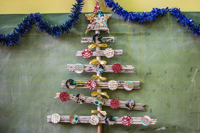 Christmas tree, hand make, school work School Work Celebration Cristmas Tree Decorative Handmade Paper School Board Tradition