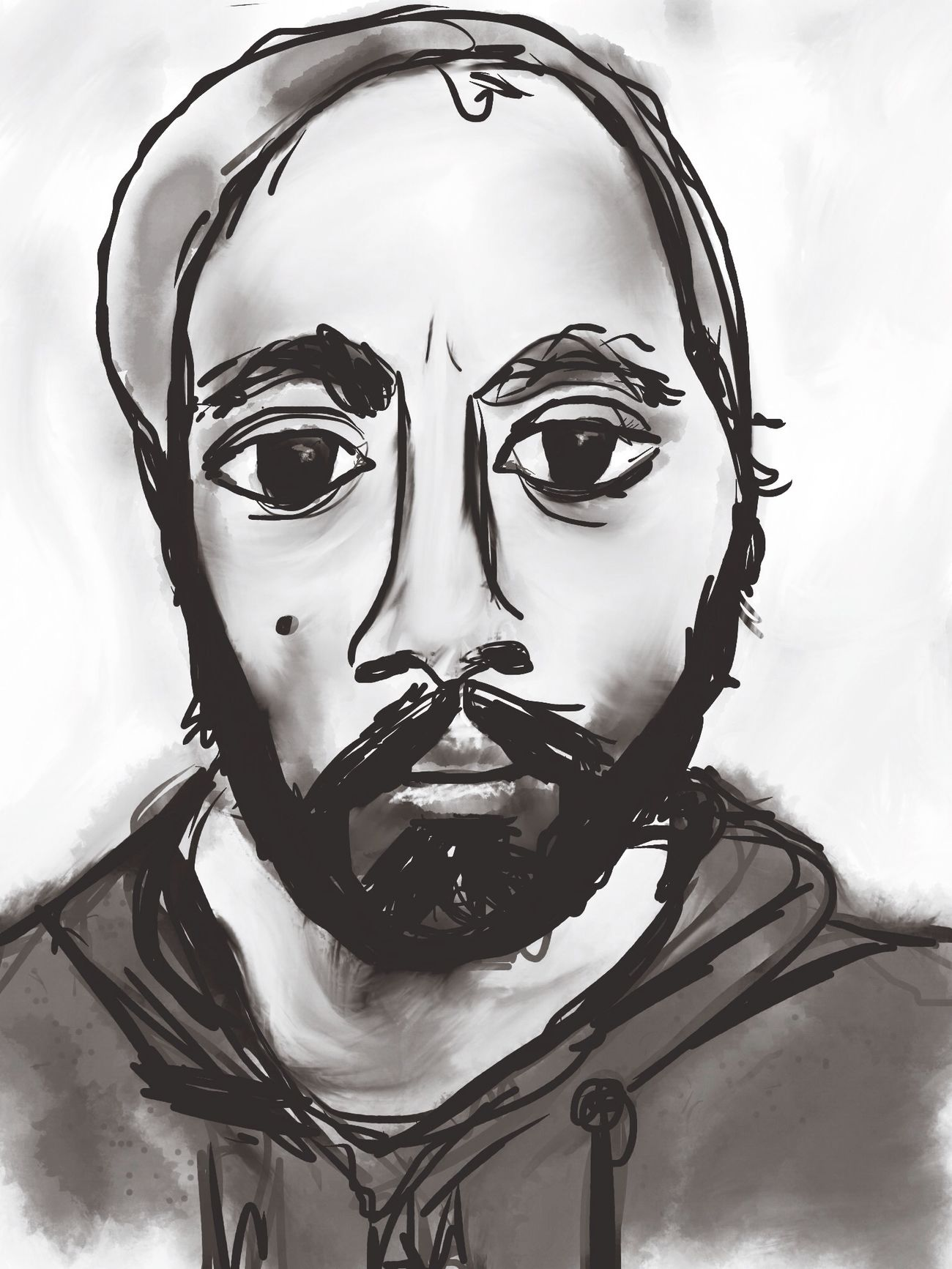 Sktchy Digital Painting Blackandwhite Portrait
