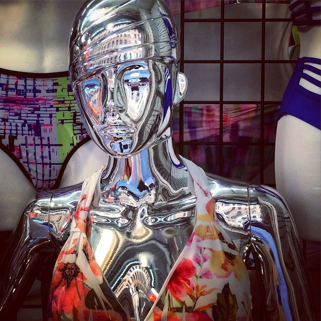 Summer Window Shopping Fashion Galactic Manequin Swimsuit Bikini Robot Metallic NYC New York City
