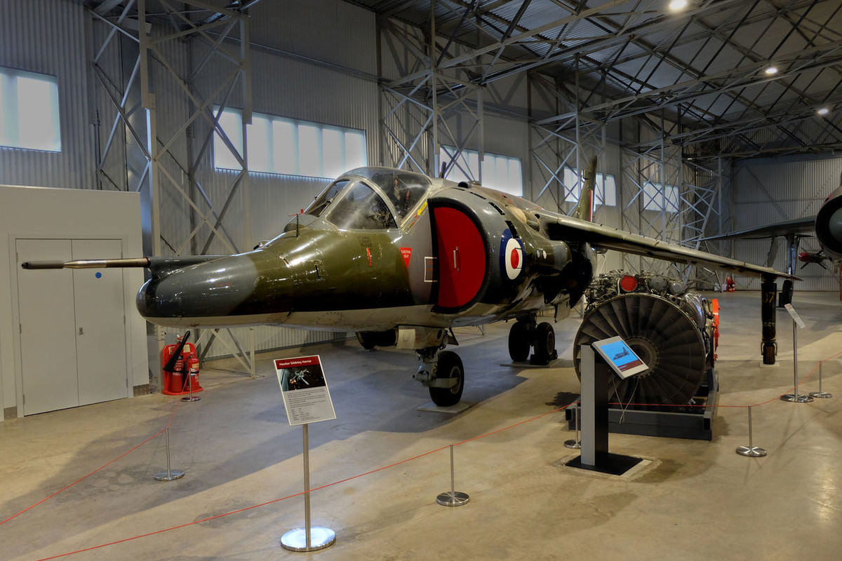 The Hawker Siddeley Harrier, developed in the 1960s, was the first of the Harrier Jump Jet series of aircraft. It was the first operational close-support and reconnaissance fighter aircraft with vertical/short takeoff and landing (V/STOL) capabilities and the only truly successful V/STOL design of the many that arose in that era. The Harrier was developed directly from the Hawker Siddeley Kestrel prototype aircraft, following the cancellation of a more advanced supersonic aircraft, the Hawker Siddeley P.1154. The British Royal Air Force (RAF) ordered the Harrier GR.1 and GR.3 variants in the late 1960s. It was exported to the United States as the AV-8A, for use by the US Marine Corps (USMC), in the 1970s. Aircraft Airplane Fighter Harrier Hawker Siddeley Harrier National Museum Of Flight First Eyeem Photo