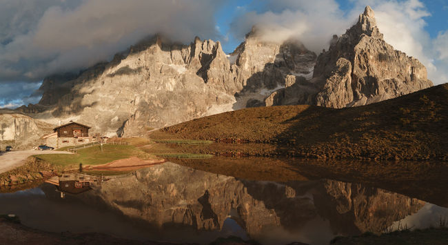 Baita  Baita Segantini Chalet Cloud Cottage Dolomites Dolomiti High Resolution Italy Lake Landscape Mountain Mountain Peak Mountain Range Nature Pale Di San Martino Panorama Panoramic Reflection San Martino Di Castrozza Sunset Trentino Alto Adige UNESCO World Heritage Site