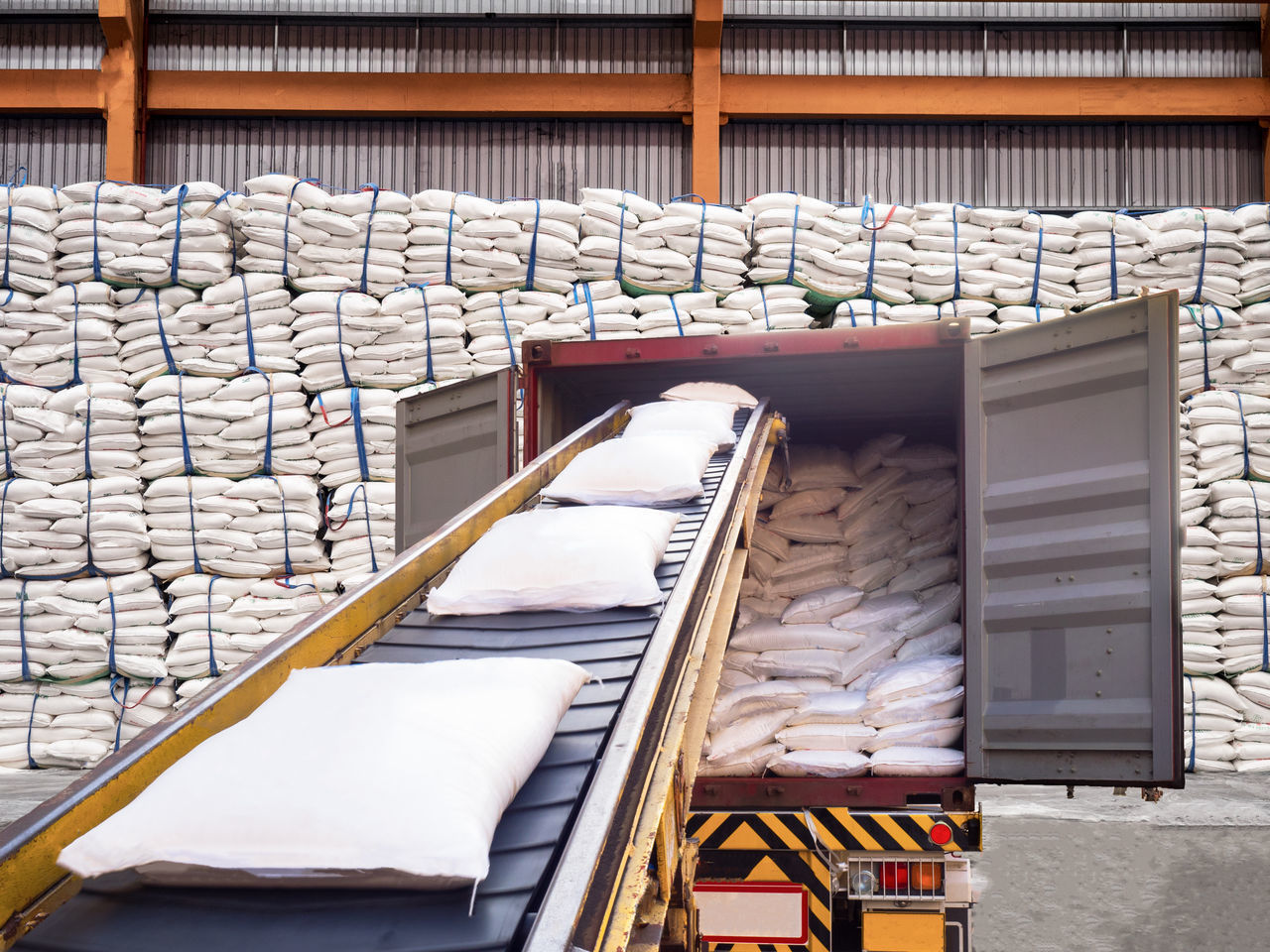 sugar in bags are stuffing in container at warehouse Sugar Import Export Stock Stuffing Container equipment Manufacturing Equipment Factory white Port Discharging Indoors  Lifting Cargo Container Crane Starch Rice Freight Transportation Trade transportation Shipping  Industry Delivery Closing Time Safety Clean Custom