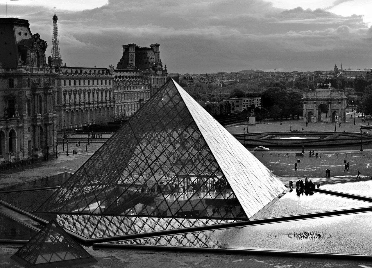 France, Paris, view on the Louvre pyramid Architecture Bridge - Man Made Structure Building Exterior Built Structure City City Life Cityscape Cloud - Sky Connection Day High Angle View Incidental People Railing Railroad Track Real People River Sky Transportation Travel Travel Destinations