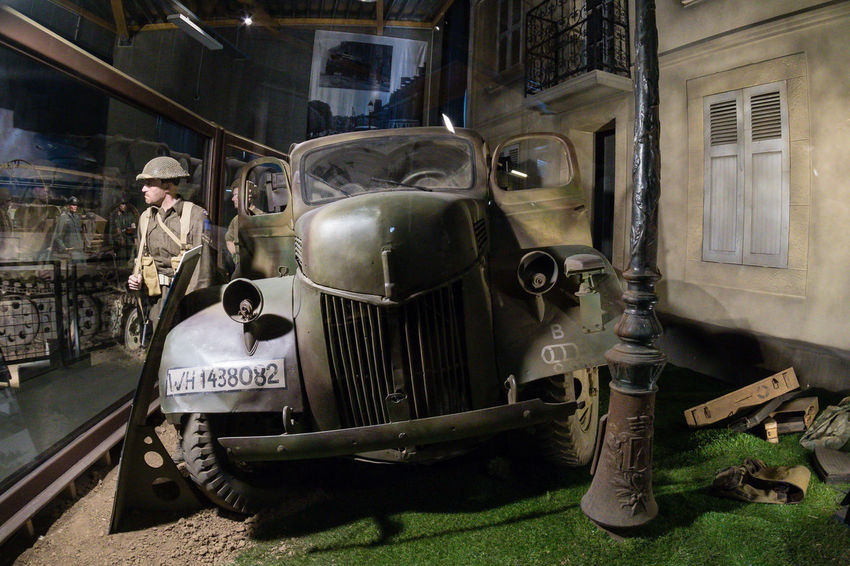 Overlord Museum, Colleville-sur-mer, Normandy, France, July 2017 D-Day II War World. Overlord Museum Soldiers Car Exhibition Exhibits Exposure Land Vehicle Mode Of Transport Museum Omaha Beach Overlord Transportation