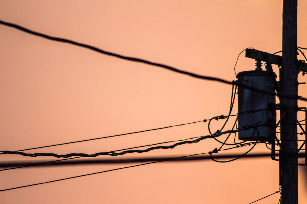 cable, electricity, power line, power supply, connection, orange color, low angle view, technology, safety, fuel and power generation, no people, sunset, outdoors, complexity, electricity pylon, clear sky, telephone line, day, animal themes, sky, close-up