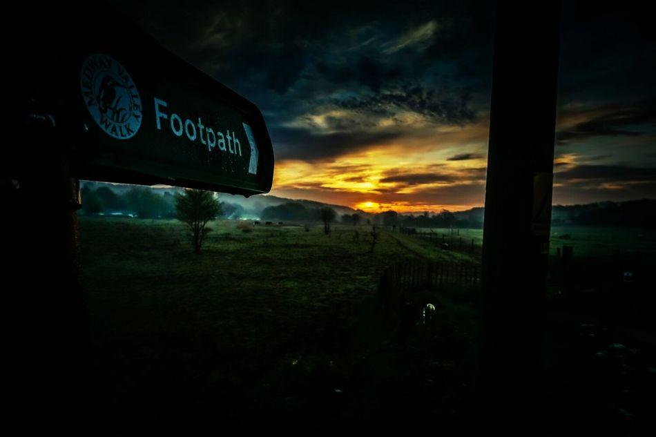 Footpath Sunrise Landscape Enjoying The View