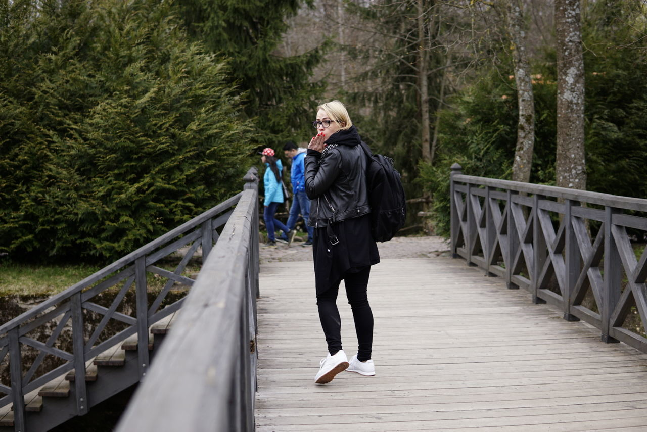 Walking Girl Bridge AirKisses Black Nofilter Nofilterneeded Onewomam Sony A6000 Sigma30mmf1.4 Lifestyles One Person Day Outdoors Adventure Vilnius Live For The Story