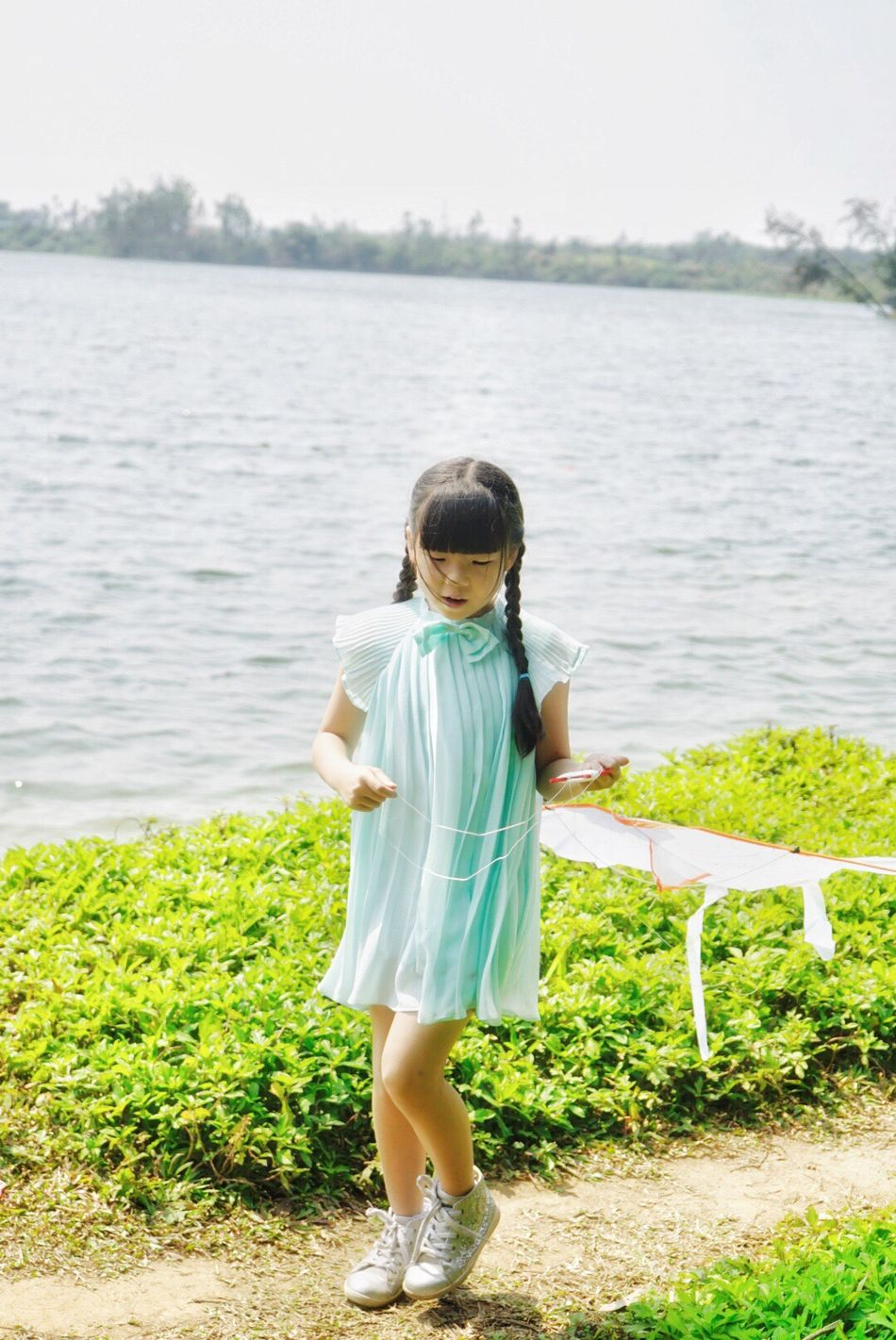 My little fairies❤️ Full Length Childhood Children Only Child Water Lake Outdoors Green Color Standing One Girl Only Nature Grass One Person Day Portrait Sky People Flying A Kite Lovely View Spring