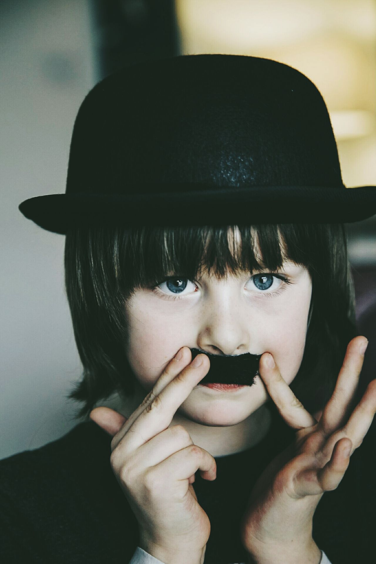 Human Face Headshot Portrait One Person Fun Bowler Hat Charlie Chaplin Lauraloophotography