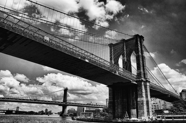 #B&W #blackandwhite #bridge #brooklyn #clouds #architecture #buildin #river #urban Architecture Bridge Brooklyn Bridge  Built Structure Cloud Connection Day Engineering Famous Place International Landmark Low Angle View Sky Suspension Bridge Transportation Travel First Eyeem Photo