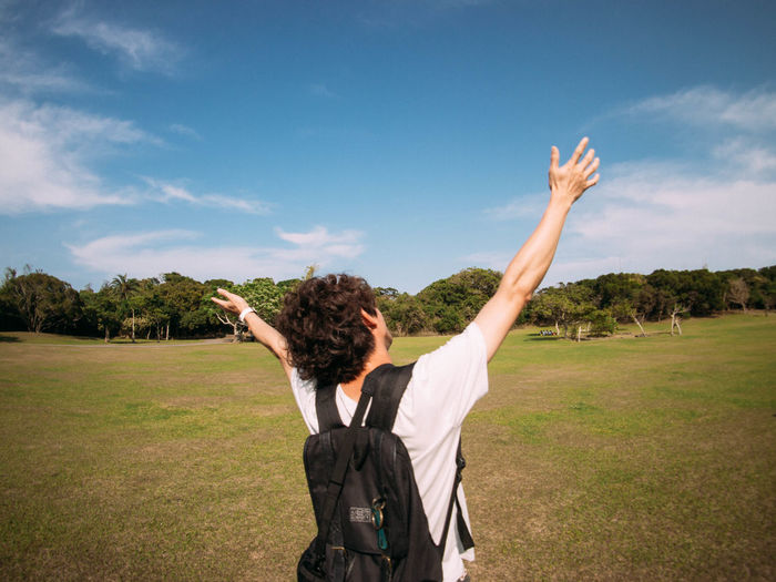 Day Enjoyment Field Freedom Fun Grass Grassy Green Color Landscape Lifestyles Nature Relaxation Sky Sunlight Taiwan Tree