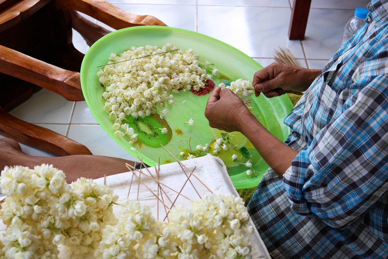 jasmine flower A Bunch Of Jasmine Working Adult Close-up Freshness Green Color Human Hand Jasmine Jasmine Flower Market Occupation Only Women Picking Women Thailand ASIA Asian