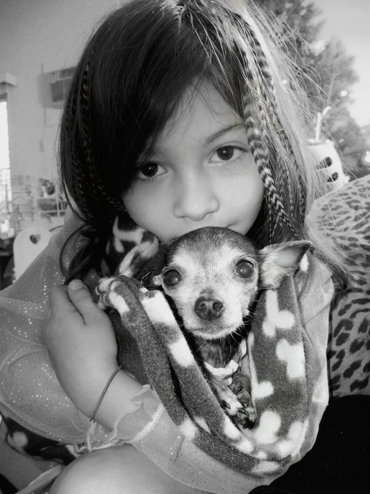 Portrait Children Playing Children Photography Animal Themes Looking At Camera Dog Pets Innocence Domestic Animals Friendship Close-up Girls One Animal Real People Cute Childhood Random Acts Of Photography Enjoying Life Tranquil Scene Indoors  In The Moments Live, Love, Laugh Fun Day