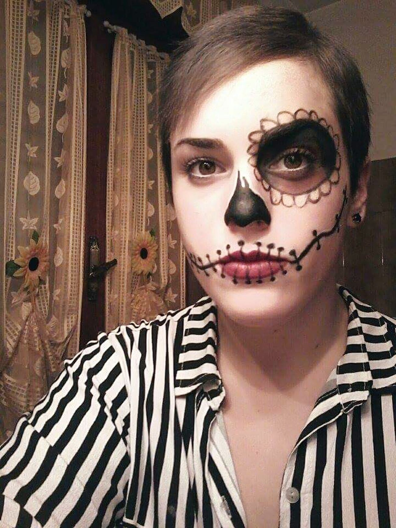 31st October 2k15 Happy Halloween! Remember Halloween! Make Up ART Skull Face Skull Girl Original Art Halloween Makeup Readytoscare Amazing Night Partypartyparty