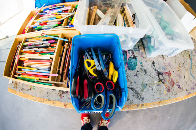 Atelier III Art ArtWork Atelier Blue Brainstorming Colours Craft Creativity EyeEm Best Shots Eyeemphoto Large Group Of Objects Man Made Object Messy Multi Colored No People Outdoors Pencils Pivotal Ideas Scissors Table Transportation Vibrant Color Worktable