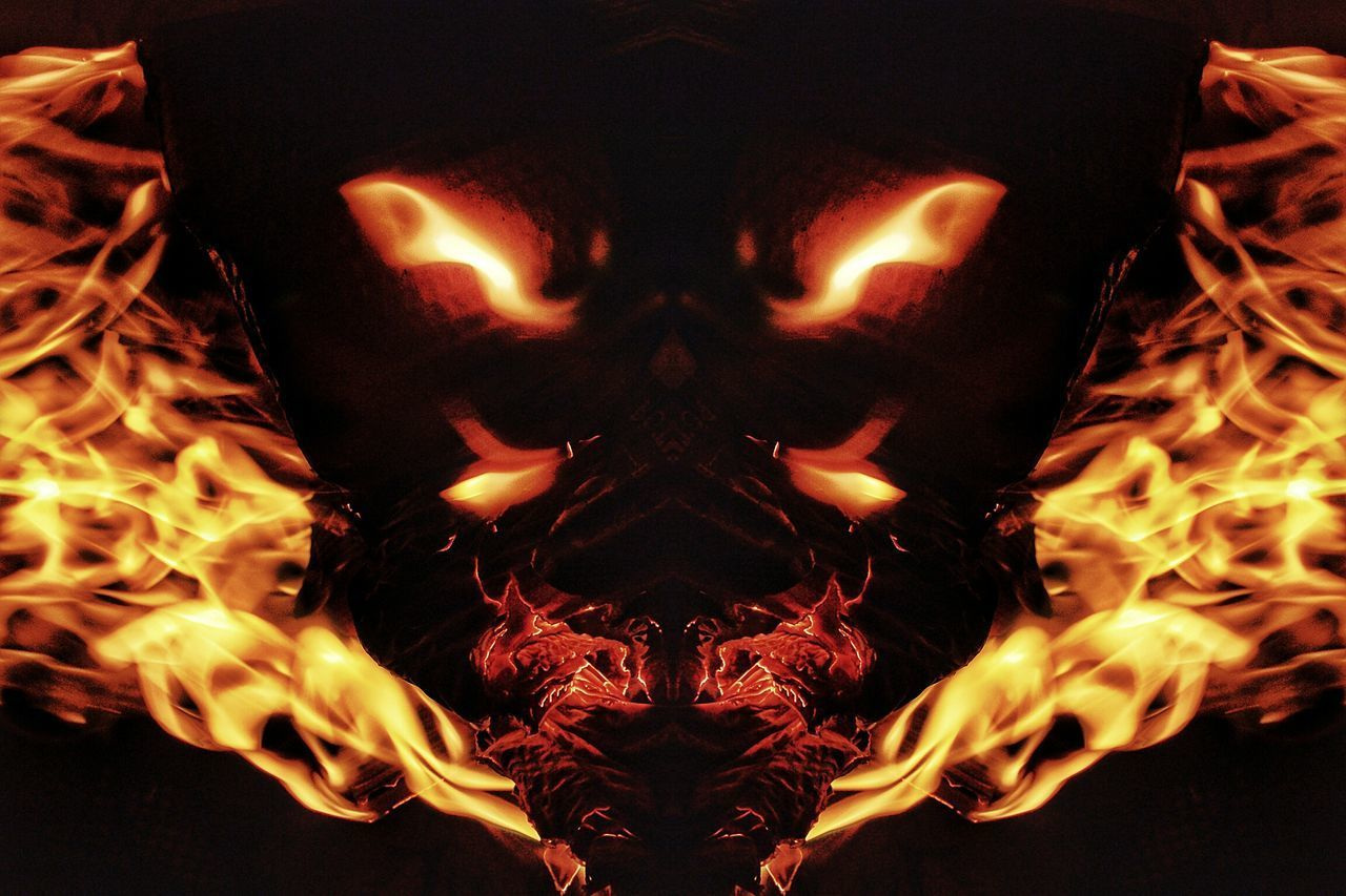 """""""Simyael"""", also called, Samael, and Satan, one of the leaders of Hell. Demonic, Fallen Archangel. To Reign In Hell Brust Simyael Samael Satan Heaven And Hell Demonic Entities Archangel Nawfal Johnson Ethereal Inferno Abstract Burning Flame Heat - Temperature Complexity Evil Horror And Fantasy Demonology Illuminated The Fallen"""