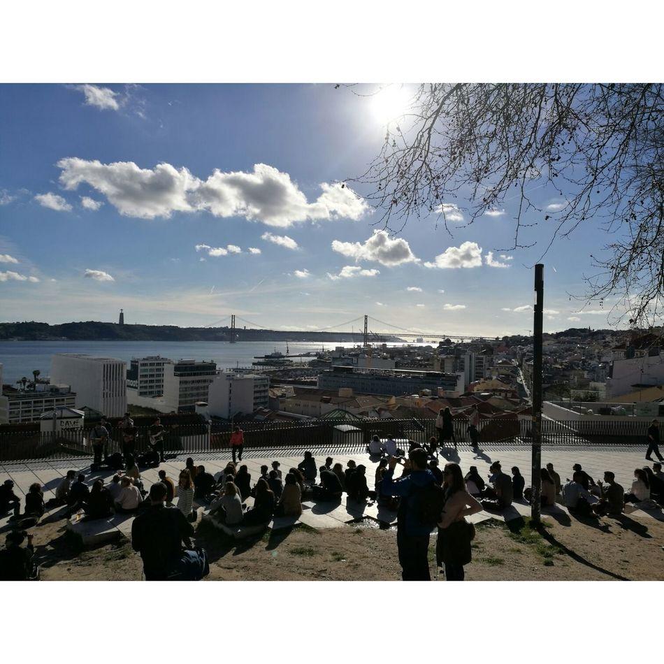 Lisboa Portugal Large Group Of People Sky People Outdoors Cloud - Sky Urban Skyline Cityscape Blue Sky Sunlight Sun