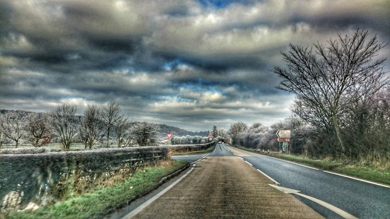 Tree The Way Forward Road Sky Cloud - Sky Outdoors Nature Winter Wonderland ❄ Wintertime Road Sign Roadscenes Road Markings Wales You Beauty Hdr_Collection Hdr_captures TreePorn Country Road Welsh Countryside Welsh Road Clouds And Sky Cloudscape