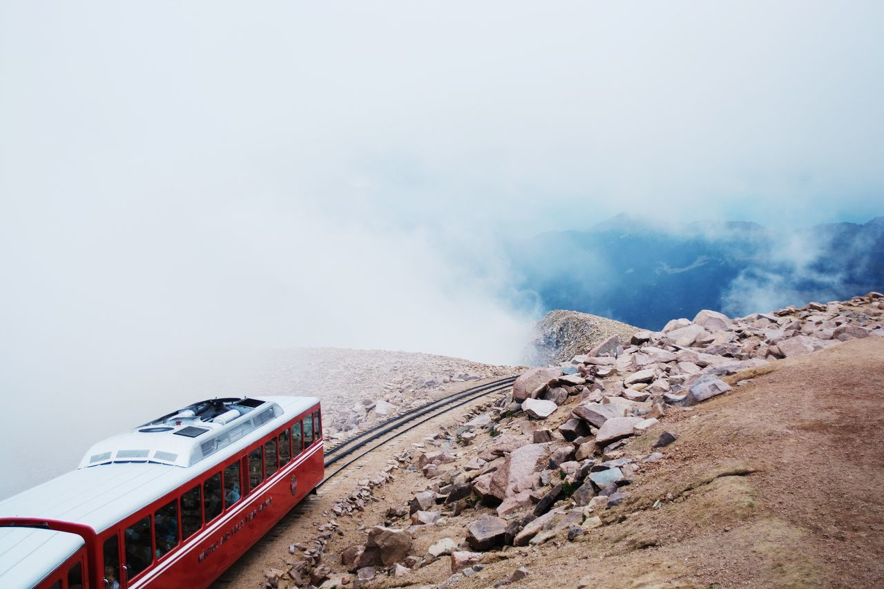 Take me to my destination Perspective Sky Mountains Freshair Colorado High Up Clouds High Outdoors Adventure Explore Pikes Peak Colorado Springs Pikes Top Of The Mountains Nature Mountainscape Fog Mist Foggy Mountains Misty Mountains  Road Train Track