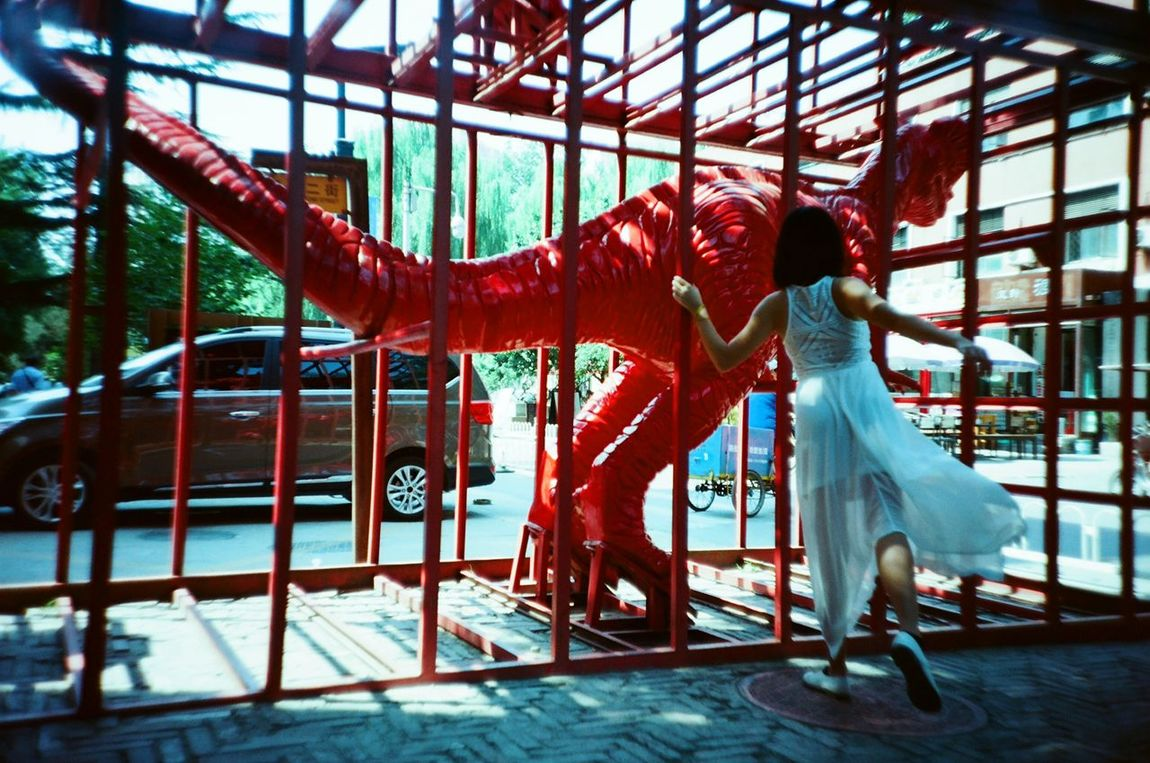 Love dinosaur's girl Dinosaur One Person Real People Adventure People Red 798artzone ArtWork Artistic Expression Art Museum Dream Lomography Lomo LC-A Love Toy Dinosaur Footprint Hkgirl