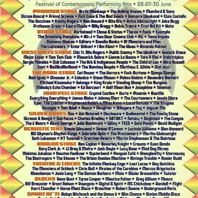 Happy with this line up Glastonbury2013
