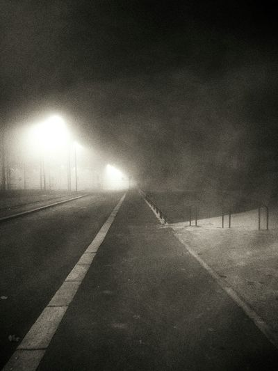Monochrome Evening Fog Walking Home Streetphotography