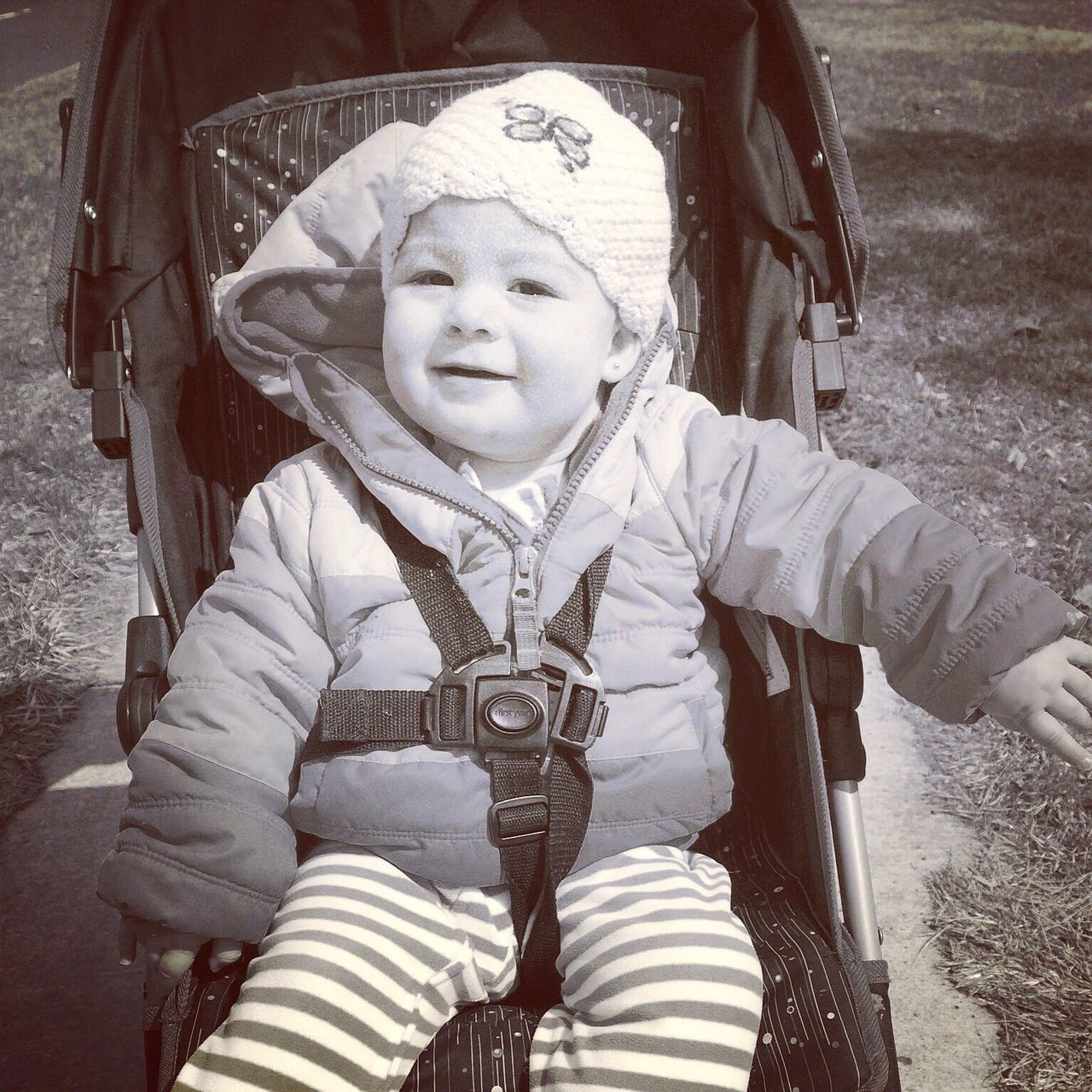 Baby girl in stroller Looking At Camera Portrait Childhood Lifestyles Real People One Person Outdoors Day IPhoneography Upclose And Personal Toddlerlife