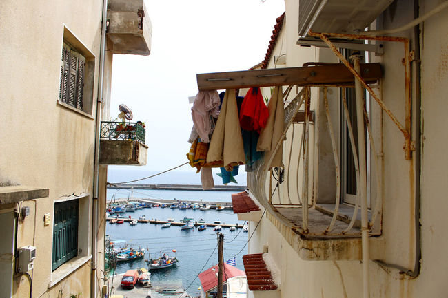 Architecture Beige Building Exterior Clothes Hanging Clothesline Day Greece Harbour Harbour View Lesbos Lesvos Mediterranean  No People Scenic Sky Village Village Life
