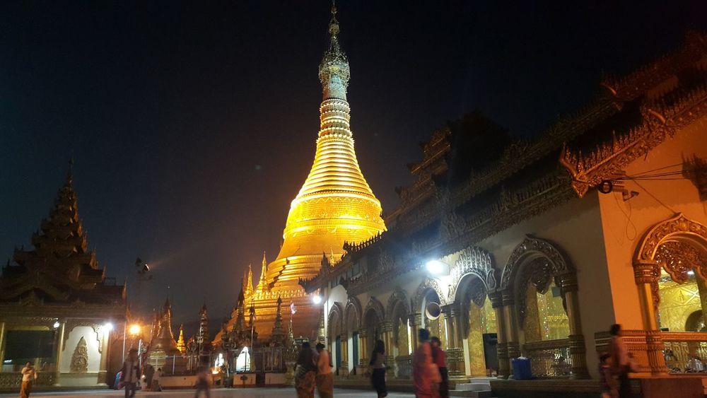 Pagoda Night Photography ShweMawDawPagoda Myanmar People Peace And Quiet Golden Pagoda