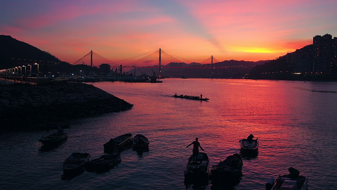 Sunset Water Transportation Silhouette Suspension Bridge Dusk Tranquility Sea Tranquil Scene Sky Beauty In Nature The Magic Mission A Bird's Eye View Hk Discovery Channel