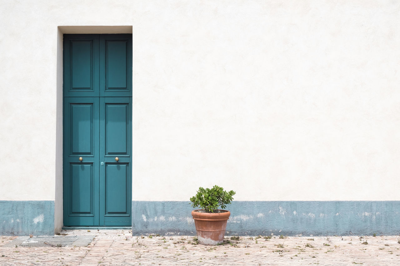 Architecture Building Exterior Built Structure Cobblestone Copy Space Day Door Doorknob Flooring Green Color Growth In Front Of Minimalism Nature No People Outdoors Plant Potted Plant Side By Side Simplicity Stone Wall Turquoise Colored Wall Wall - Building Feature Wooden Door