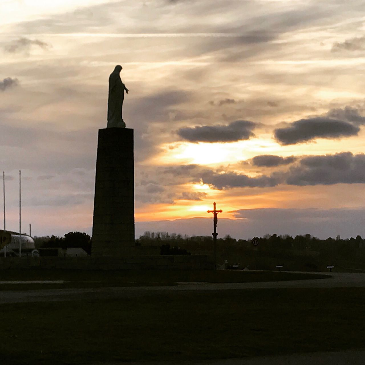 statue, sunset, human representation, sculpture, cloud - sky, sky, monument, male likeness, travel destinations, silhouette, memorial, history, architecture, outdoors, nature, landscape, no people, beauty in nature, day