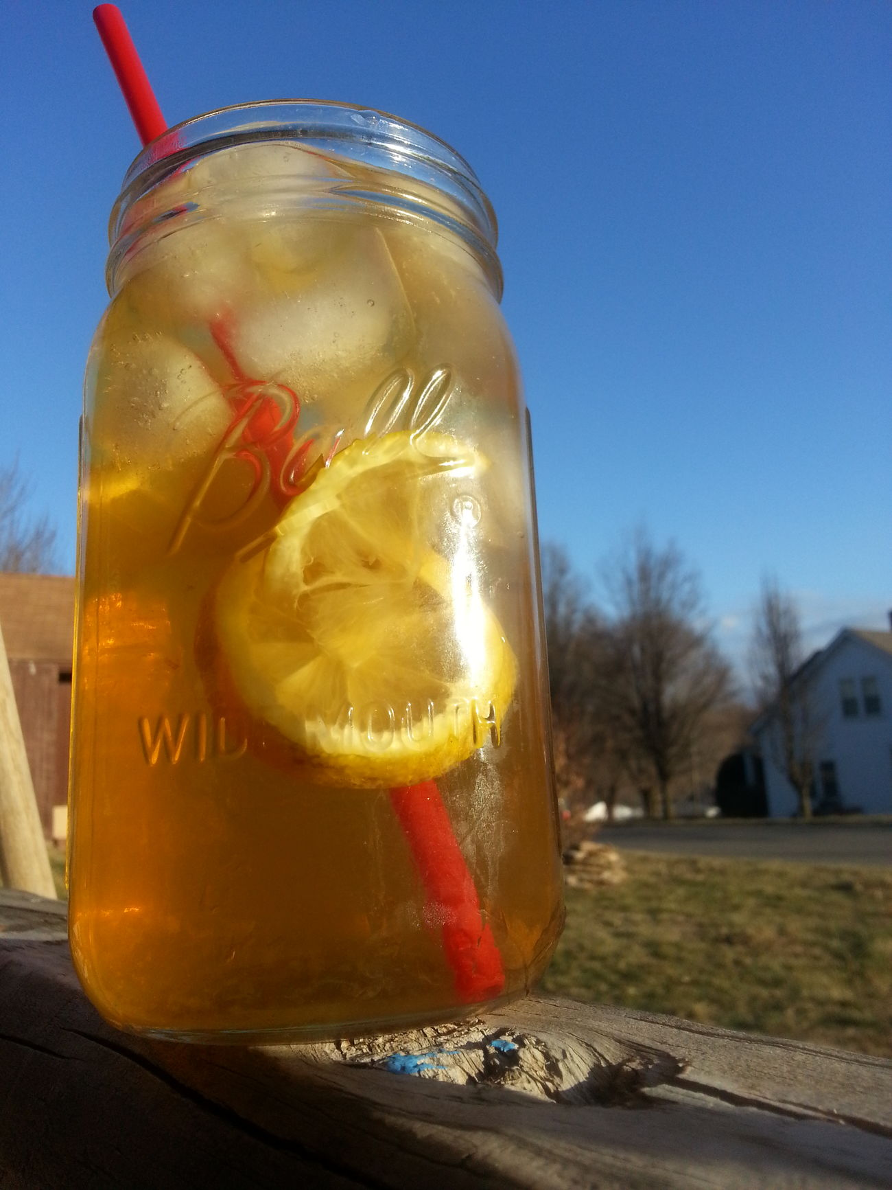 Sunny & 75... Relaxing Sippin Sweet Tea Lemon Porch Porch Therapy Chillin' Drinks Missouri Small Town USA