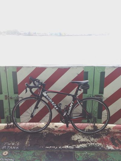The bike on the ferry. From home to Penang heritage area - Accomplished! Penang Ferry Bike