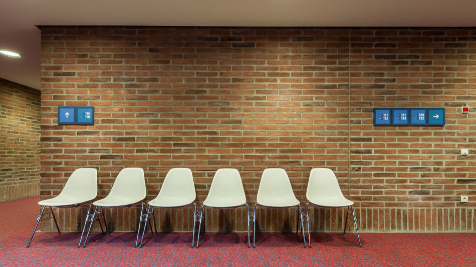 Gasteig III - 6 by 2+4 blue Architecture Blue Brick Wall Chair Day In A Row Indoors  Nikonphotography No People Red White