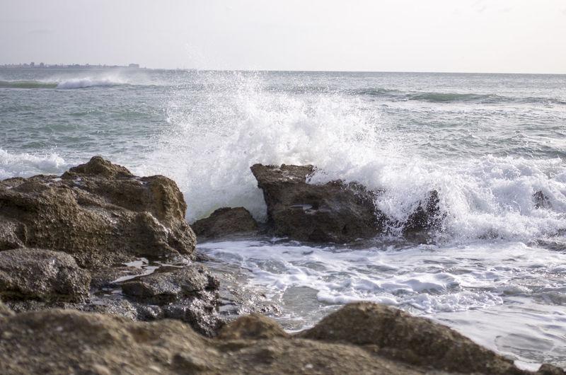 Splash Splashing Against The Rocks Sun Sea Beach Seaside Crashing Crashing Waves  Crashing Against Thr Rocks El Puerto De Santa Maria Cadiz España Pentax K-5 Holidays Andalucía Windy Day EyeEm Best Shots EyeEmNewHere