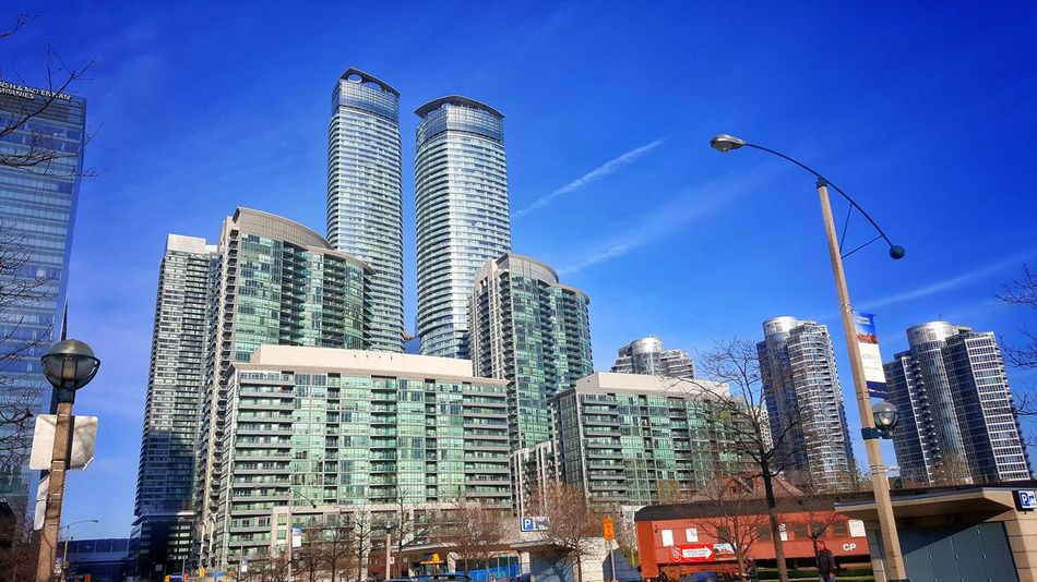 Canada Toronto Toronto Landscape Toronto Canada City Skyscraper Architecture Building Exterior Travel Destinations Business Travel Modern Sky City Life Outdoors Cityscape Low Angle View Business Finance And Industry No People Urban Skyline Day Clouds And Sky Cloud - Sky Cloud Clear Sky