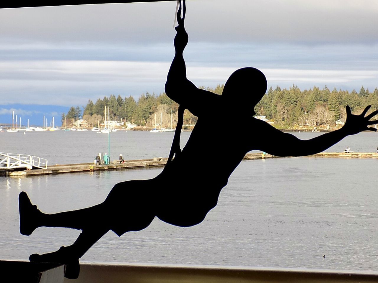 Just Hanging Silhouette One Person Strength Sky Canada 150 EyeEmNewHere Outdoors Vancouver Island Canada Nanaimo BC Harbor: Port, Dock, Haven, Marina; Mooring, Moorage, Anchorage; Waterfront, Harborside