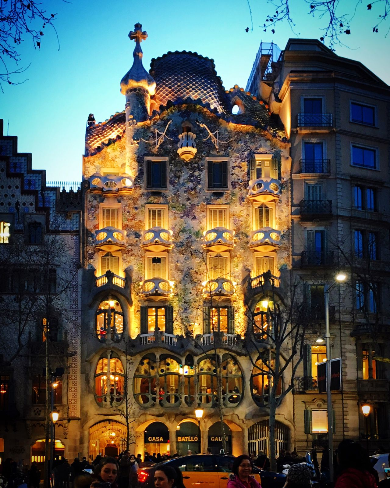 Barcelona Gaudi Architecture Illuminated City Building Exterior Night Modernism Liberty Barcelonabynight