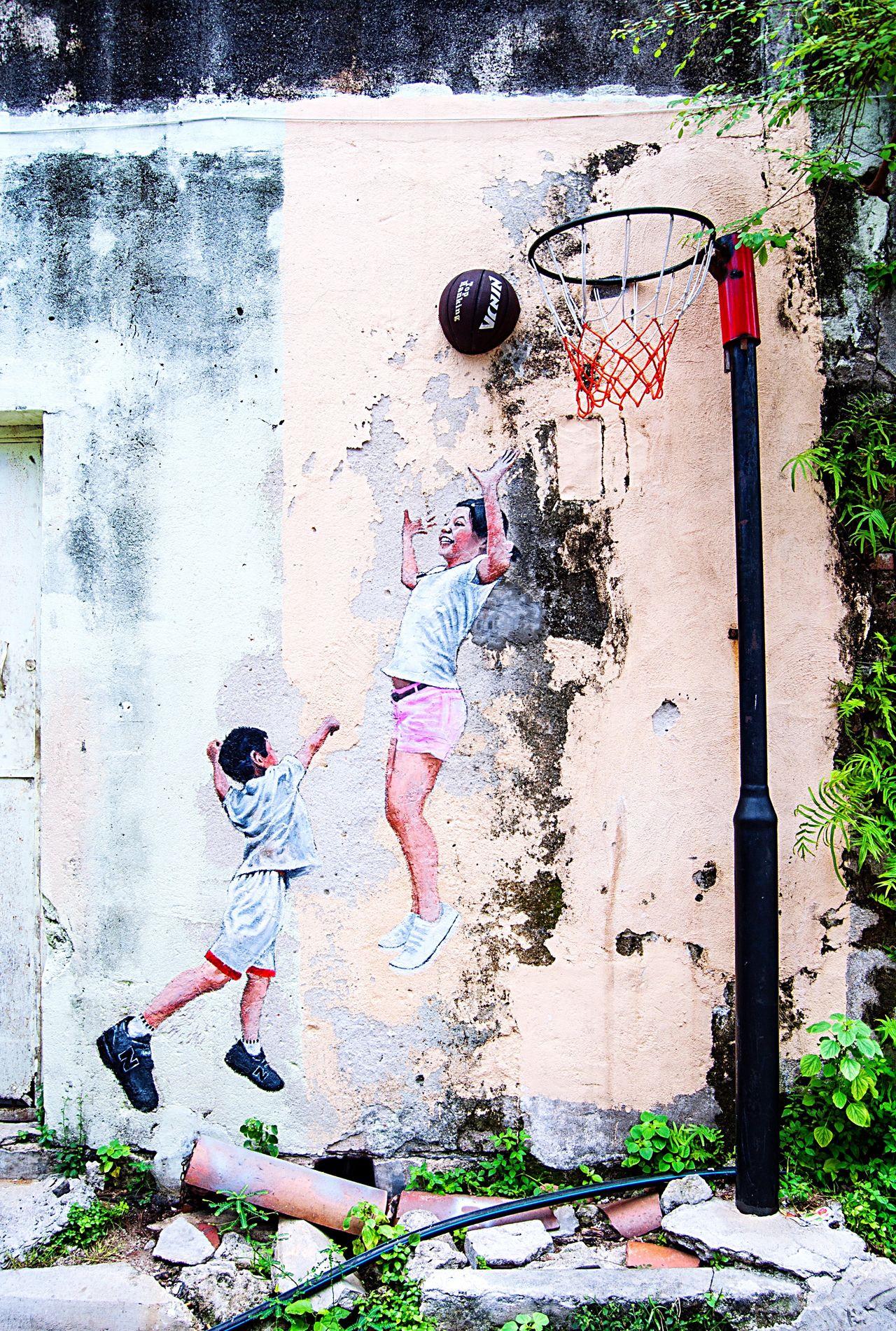 Street Art Sport Basketball Authentic Colorful Georgetown Malaysia Penang Southeastasia Asian  Day Travel Contemporary Culture Art Streetart Graffiti Wall Graffiti Art Wall Art Graffiti Mixedmedia Kids Boy Girl Sport