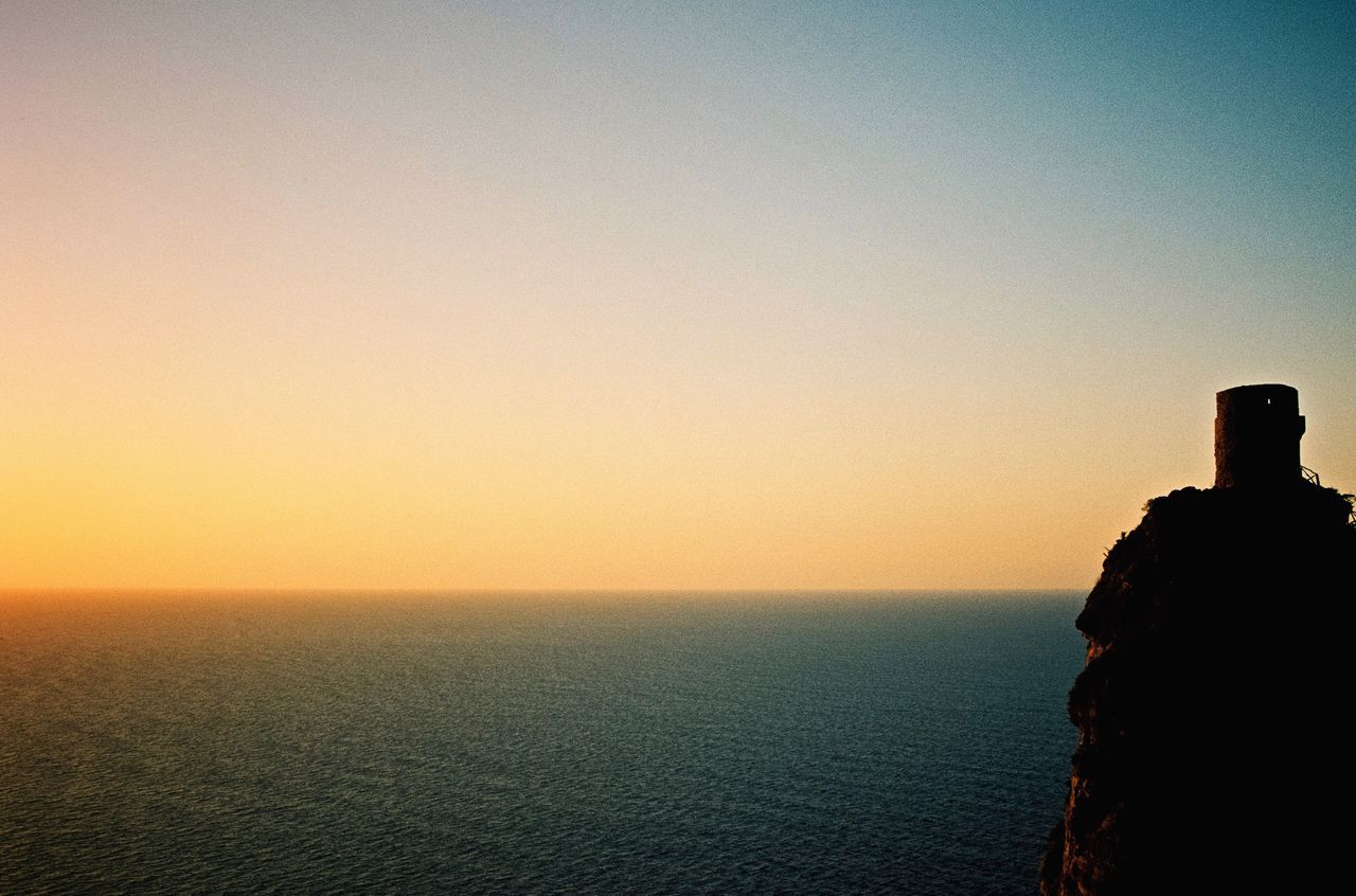 Copy Space Sunset Sea Scenics Clear Sky Horizon Over Water Sky Beauty In Nature Nature Tranquility No People Tranquil Scene Outdoors Water Architecture Day Mallorca Analogue Photography 35mm