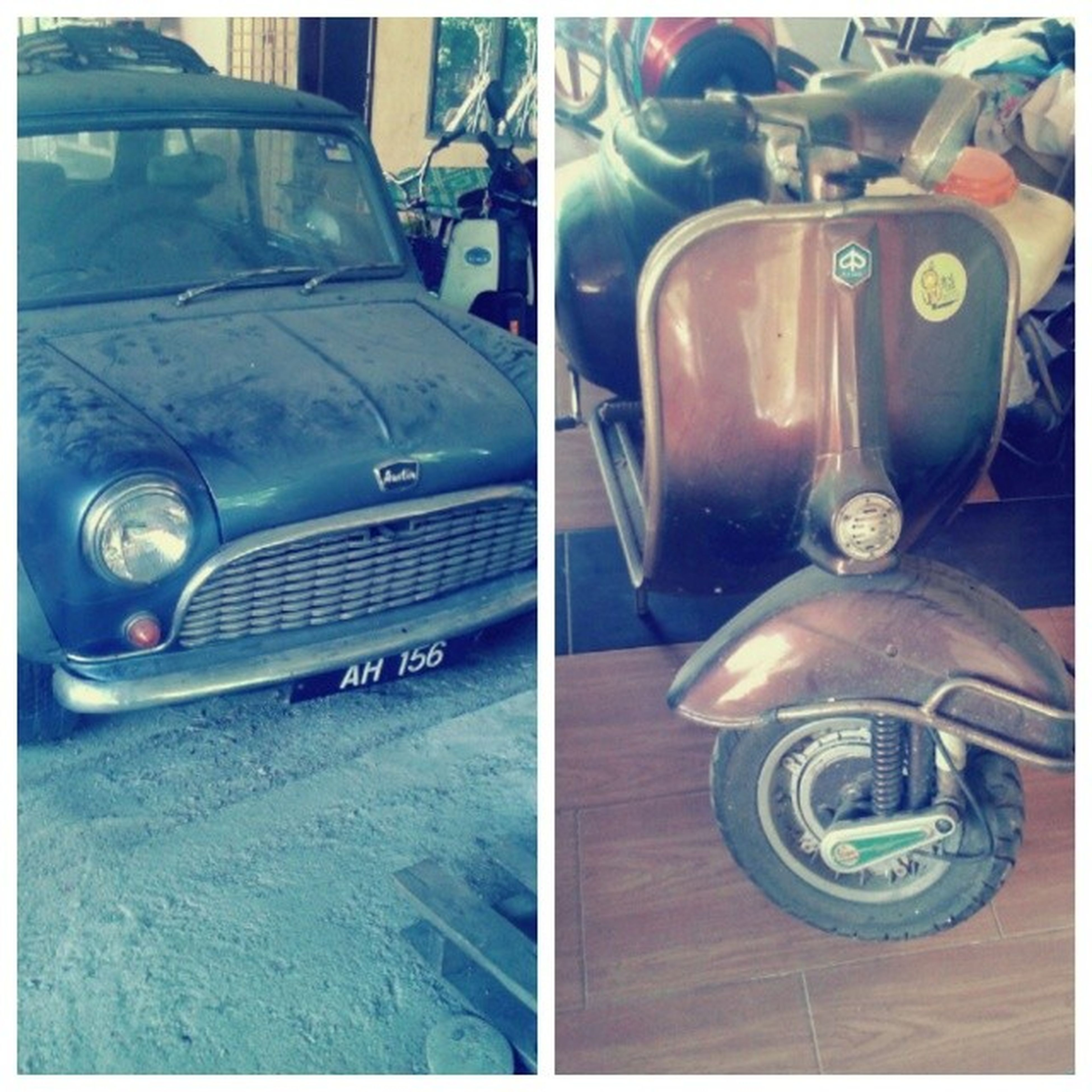 transfer print, auto post production filter, transportation, car, mode of transport, land vehicle, retro styled, old-fashioned, close-up, stationary, indoors, no people, travel, technology, vintage car, old, headlight, street, part of, day