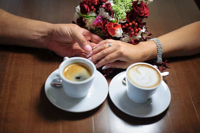Coffee Coffee House Hands He Romantic She Touch White Cup