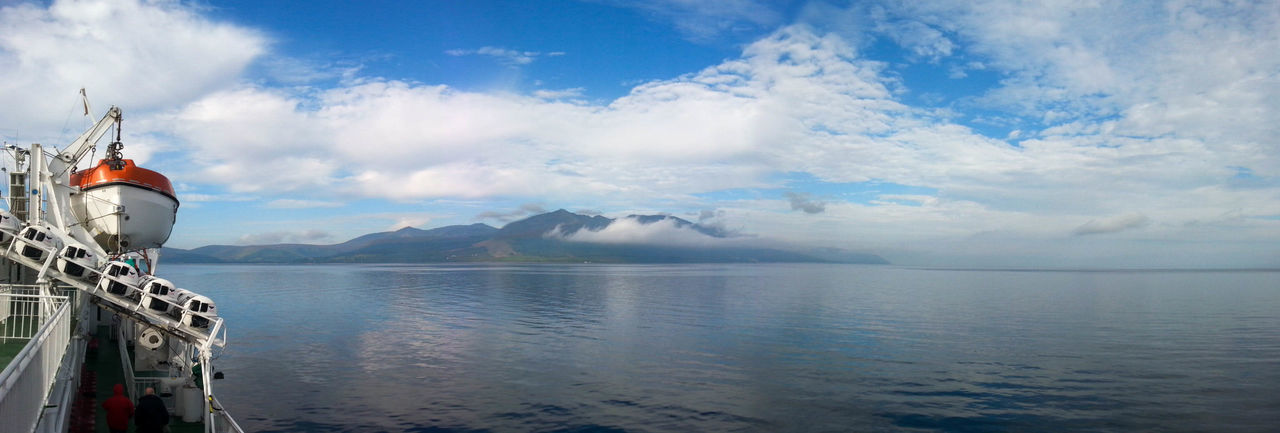 Beauty In Nature Cloud - Sky Day Isle Of Arran  Mountain Nature Nautical Vessel No People Outdoors Panorama Sailing Ship Scenics Sea Sky Travel Destinations Water