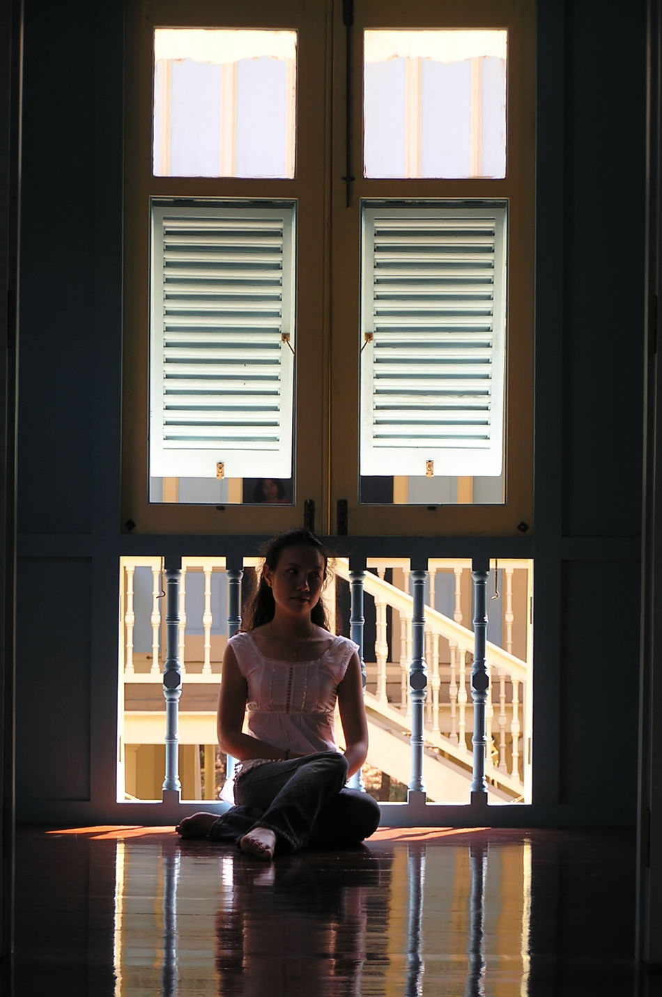 Cross-legged Indoors  One Person One Woman Only Relaxation Shadow Sitting Window