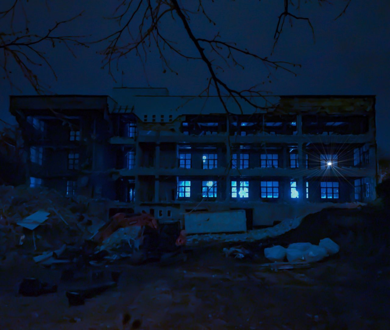 Built Structure Building Exterior Architecture Abandoned No People Night Winter Cold Temperature House Snow Tree Illuminated Outdoors Distroyed Building Story Buildings Creative Light And Shadow Building Structures Blue Night Lights Night Photography Nightshot Backlight And Shadows Backgrounds Windows